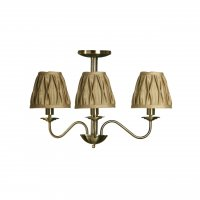 Gold 3 Arm Ceiling Light with Gold Fabric Shades