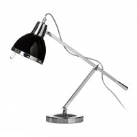 Chrome Adjustable Table Lamp with Black Shade