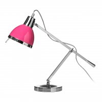 Chrome Adjustable Table Lamp with Hot Pink Shade