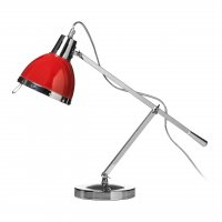 Chrome Adjustable Table Lamp with Red Shade