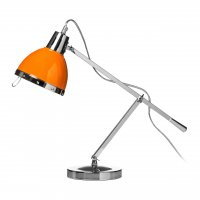 Chrome Adjustable Table Lamp with Orange Shade