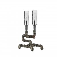 Dual Industrial Bottles Smoked Glass Table Lamp