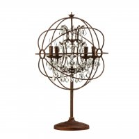 Twig Sphere Rustic Brown and Crystal Table Lamp