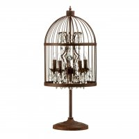 Antique Birdcage Iron and Crystal Table Lamp