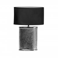 Regents Park Hammered Chrome Effect Ceramic Table Lamp with Black Shade