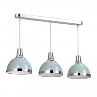 Vermont 3 Light Shutter Blue and Chrome Pendant Light