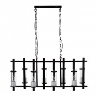 Aspen 8 Light Matte Black Iron and Glass Pendant Light