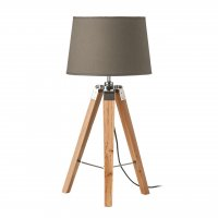 Tripod Light Wood and Grey Shade Table Lamp