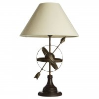 Vintage Compass Metal Table Lamp with Natural Shade