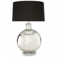 Aysel Round Glass Table Lamp with Black Linen Shade