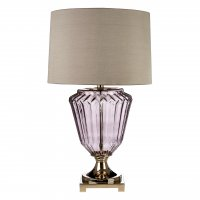 Annot Smoked Glass Table Lamp with Grey Silk Shade