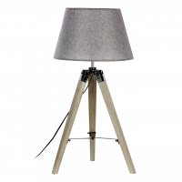 Harper Tripod Grey Wood Table Lamp with Grey Shade