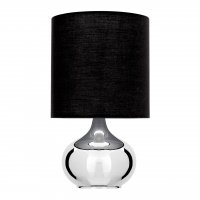Niko Chrome Table Lamp with Black Shade