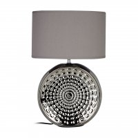 Win Chrome Ceramic Table Lamp with Grey Shade
