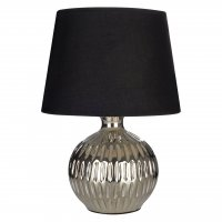 Wren Chrome Ceramic Table Lamp with Black Shade