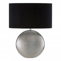Jasmin Silver Ceramic Table Lamp with Black Shade