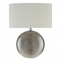 Joshua Chrome Hammered Ceramic Table Lamp with Ivory Shade