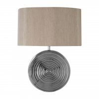 Jessica Silver Ceramic Table Lamp with Natural Shade