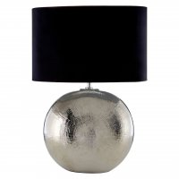 Jarvis Chrome Ceramic Table Lamp with Black Shade