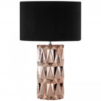 Jaxon Geometric Copper Ceramic Table Lamp with Black Shade