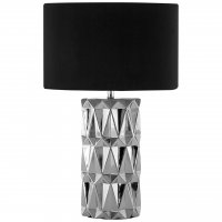 Jaxon Geometric Silver Ceramic Table Lamp with Black Shade