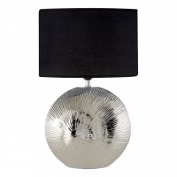 Hattie Silver Rib Ceramic Table Lamp with Black Shade