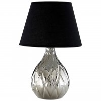 Hannah Silver Ceramic Table Lamp with Black Shade