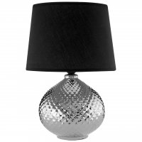 Hetty Silver and Black Table Lamp with Black Shade