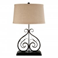 Portia Black Metal Table Lamp with Natural Shade