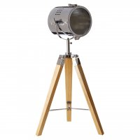 Bray Tripod Wood and Chrome Table Lamp