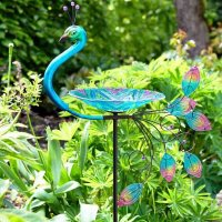 Smart Garden Peacock Glass Birdbath Stake