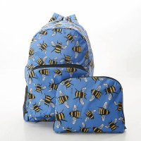 Eco Chic Blue Bee Foldable Backpack