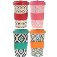Lesser and Pavey Eco Bamboo Travel Mug 600ml - Colourful Assorted Designs
