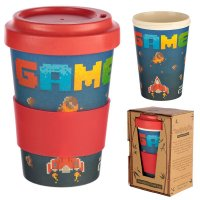 Puckator Game Over Reusable Screw Top Bamboo Composite Travel Mug