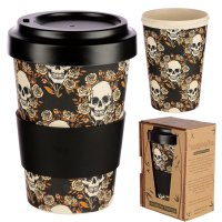 Puckator Skulls and Roses Reusable Screw Top Bamboo Composite Travel Mug