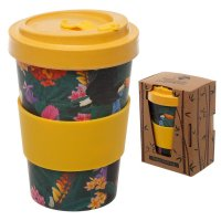 Puckator Toucan Party Reusable Screw Top Bamboo Composite Travel Mug