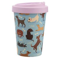 Puckator Catch Patch Dog Reusable Screw Top Bamboo Composite Travel Mug