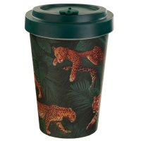 Puckator Spots & Stripes Big Cat Reusable Screw Top Bamboo Travel Mug