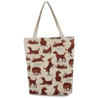 Puckator Catch Patch Dog Design Cotton Bag with Zip and Lining