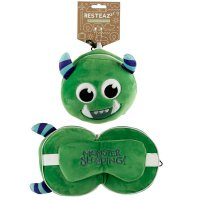 Puckator  Plush Green Monstarz Monster Travel Pillow & Eye Mask
