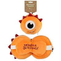 Puckator Resteazzz Plush Orange Monstarz Monster Travel Pillow & Eye Mask