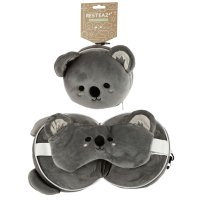 Puckator Resteazzz Plush Cutiemals Koala Round Travel Pillow & Eye Mask