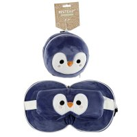 Puckator Resteazzz Plush Cutiemals Penguin Travel Pillow & Eye Mask