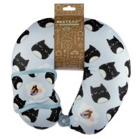 Puckator Resteazzz Feline Fine Cat Travel Pillow & Eye Mask Set