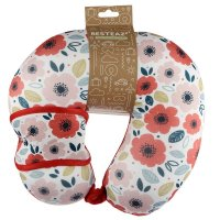Puckator Resteazzz Poppy Fields Travel Pillow & Eye Mask Set