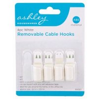 Ashley Housewares White ABS Removable Cable Hooks (Pack of 4)