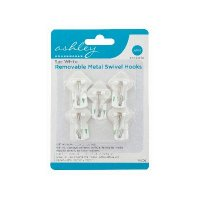 Ashley Housewares White ABS Removable Metal Swivel Hooks (Pack of 5)