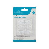 Ashley Housewares Transparent Removable Hooks (Pack of 6)