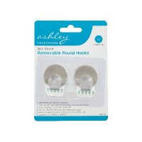 Ashley Housewares Silver Removable Round Hooks (Pack of 2)