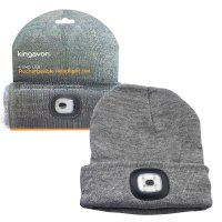 Kingavon Rechargeable Headlight Hat 4 SMD USB - Grey